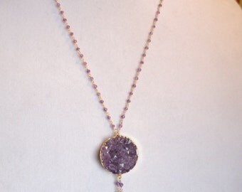 From the Indigo Collection: Lariat Fringe Necklace in Amethyst