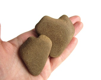 2 Heart Shaped Rocks - Natural River Pebbles - Love Stones - Valentines Day Gift