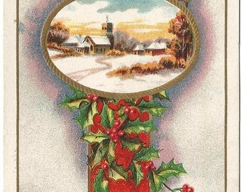 Pathway Through the Snow to Town and Church Scene with Holly Branch Swag Vintage Postcard Christmas