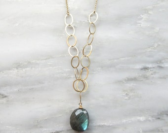 Labradorite Long Gold Necklace - Labradorite Necklace - Gold Necklace - Layering Necklace