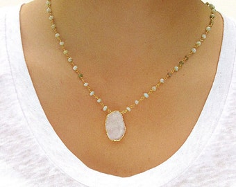 Peruvian Opal and Druzy Necklace - Druzy Necklace - Opal Necklace