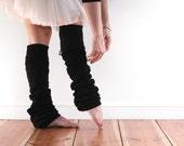 Slouchy black leg warmers, dancewear, extra long ballet legwarmers in soft cotton fleece