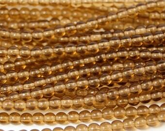 Smoky Topaz 4mm round czech beads  - 100 Czech Beads