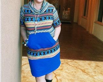 Womens Dress Tunic Sewing Pattern; womens cowl neck knit dress sewing pattern, womens tunic with pockets pdf sewing pattern, cowl neck dress