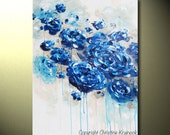 ART PRINTS Large Art Blue Abstract Painting Blue White Flowers Canvas Giclee Print Home Decor Wall Decor Wall Art Navy Blue SIZES- Christine