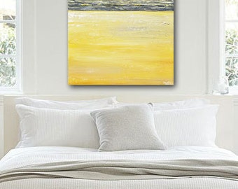ORIGINAL Art Abstract Painting Yellow Grey Wall Art Acrylic Painting Wall Decor Ombre Modern Art Textured Coastal Urban Gold 36x24 Christine