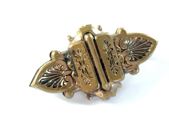 Victorian Brooch Hearts and Flowers Vintage Brass