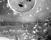 Fantasy Art Print -Moon Print - Giclée Wall Art Print Surreal-Moon - Moon Fantasy Art- Moon Original Art by Ghostales Annabelle