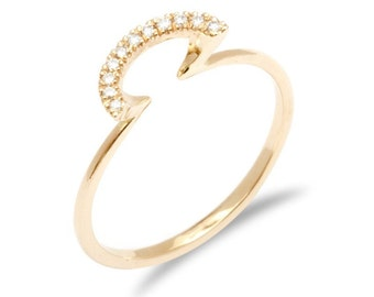 Modern diamond ring elegant ring with diamond gold modern ring thin gold ring with diamonds multi stone diamond ring