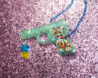 Blue Pastel Candy Rainbow Glitter Gun Necklace