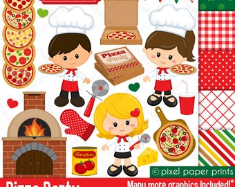 Pizza Party- Clip art and digital paper set - Pizza clipart