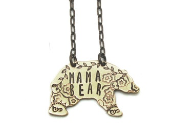 mama bear necklace, mother, mom, bear jewelry, hand stamped pendant, from husband, floral, branch, gift for mom, mothers day gift daughter