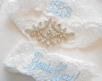 Wedding GarterTara Beautiful Lingerie Stretch Lace Customized Bridal Garter Set Rhinestone Setting on Lingerie Lace