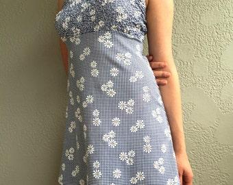 Vintage 90's Blue Daisy and Checkered Print Mini Dress