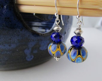 Lampwork Glass earrings, artisan glass, cobalt blue and yellow, dangle earrings