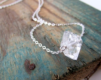 Herkimer Diamond Necklace, big raw herkimer diamond on a silver chain