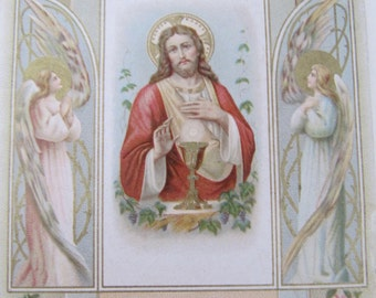French religious card 1907, antique Holy cards, early 1900s Saints card, French Communion remembrance souvenir cards, vintage prayer cards