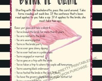 Printable bachelorette game/ bachelorette drinking game / bachelorette party game / drink if game / take a sip game / flamingo bachelorette