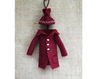 Mini Christmas Burgundy Winter Coat Winter Hat Ornament Christmas Ornaments Christmas Ornament Decor Felt Christmas Ornament Dark Red Coat