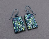 Stained Glass Look-Alikes, with Yellow, Green, Blue and Violet with Vertical Black Lines, Polymer Clay, French Hook Earrings