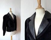 80s avant garde black suede leather padded jacket L