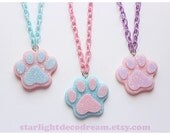 Paw-erful Paw Pad Matte Soft-look Resin Necklace with Silk Chain for Fairy Kei, Pastel, Kawaii, Cute Fashion
