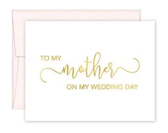 To My Mother on my Wedding Day Card - Wedding Card - Day of Wedding Cards - Mother Wedding Card - Mother Wedding Day Card (CH-9YM)