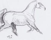 Original Sketch of a Trotting Horse, Animal, Contemporary Original Study