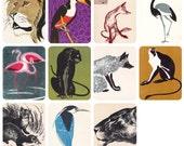 Ukrainian Animal Painters V. Averin, A. Petrov. Set of 11 Vintage Prints, Postcards -- 1960s