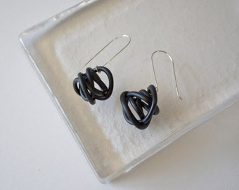 Swirled Orb Earrings in Black Polymer Clay - Statement Large Graphic Jewelry