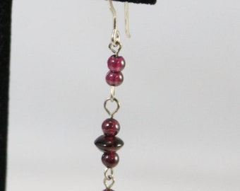 Pretty 925 Sterling Silver With Purple Beads Hanging / Dangle Earrings - Pierced