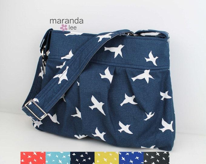 Stella Diaper Bag -Medium - U CHOOSE Birds  with Custom Lining Nappy Bag Baby Gear E Adjustable Strap Attaches to Stroller