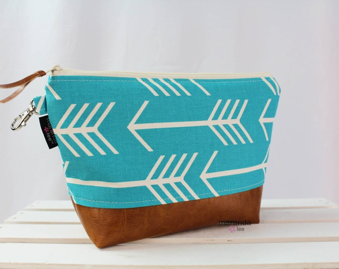 AVA Clutch -Large - Coastal Blue Arrows with PU Leather Cosmetic  Diaper bag Travel Make Up Zipper Pouch Archer Archery