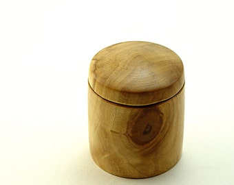 "Hand Turned Box in Salvaged Birch-Wood: 2 1/4"" Diameter by 3"" Tall."