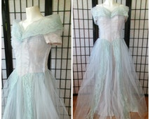 Vintage Ball Gown Aqua Blue Strapless Look 1940s 1950s Dress Tulle Party Evening Formal Gala Maxi 34 Bust M Princess Maxidress
