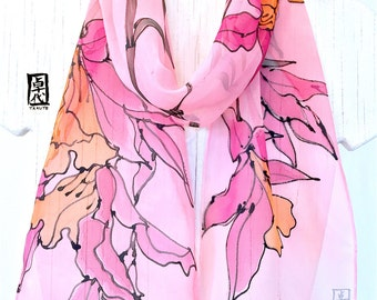 Silk Scarf Hand Painted, Gift for Women, Birthday Gift, Small Pink Silk Scarf, Silk Chiffon Scarf, Pink and Orange Orchids Scarf, 8x54 in.