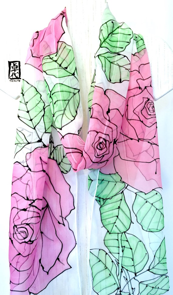 Hand painted silk scarf Long, ETSY asap, White Scarf Silk, Pink Roses Scarf, Gloral Scarf, Chiffon Scarf, Silk Scarves Takuyo, 11x90 inches