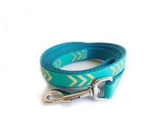 Chevron Dog Leash, Teal Dog Lead