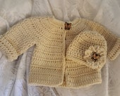 Baby Crochet Sweater and Hat Hairclip Set 3-6 Months FREE SHIPPING Ready to Ship