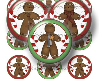 """Gingerbread Man, Christmas, Digital Collage Sheet,  Bottle Cap Images 1"""" Circles, Instant Download, Cupcake Toppers, Cabochons, Magnets, No1"""