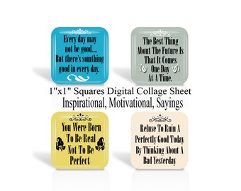 Inspirational, Sayings, 1 Inch Square, Digital Collage Sheet, 1 x 1 Inch, For Glass Tiles, Pendants, Magnets, Cabochon, Square Images (No 1)