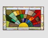 Stained glass panel window medium rainbow arch geometric stained glass window panel abstract suncatcher beveled glass 0134 21 1/4 x 12 1/4