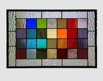 Stained glass panel window rainbow squared geometric abstract stained glass window panel modern window hanging 0170 17 3/8 x 11 3/8