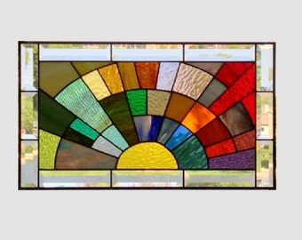 Stained glass panel window medium rainbow arch geometric stained glass window panel abstract suncatcher beveled glass 0134 21 1/4 x 12 1/4