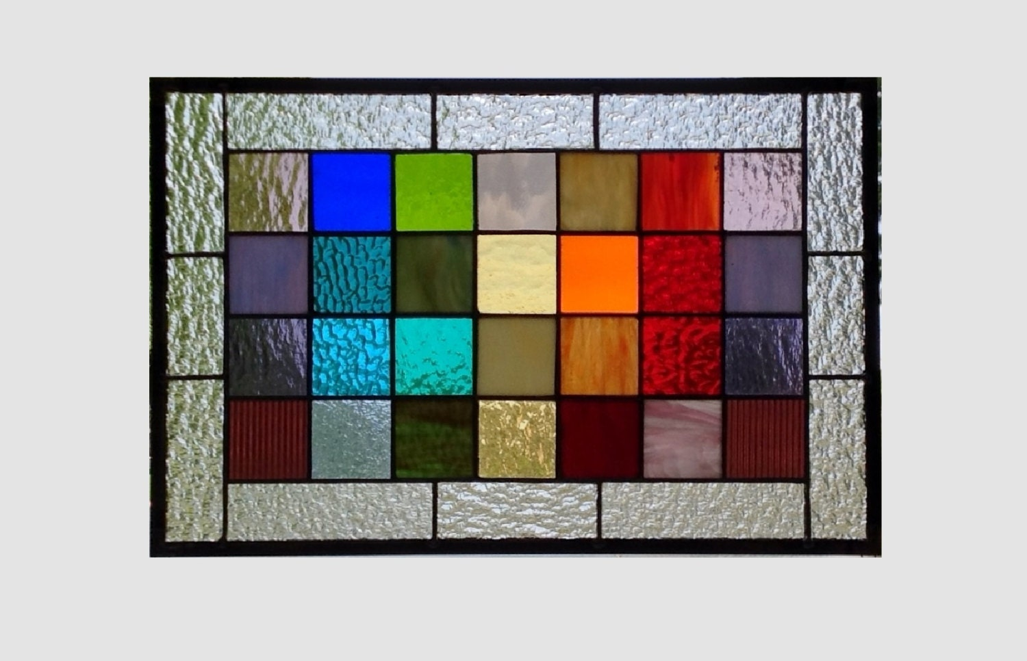 Stained glass panel window rainbow squared geometric abstract