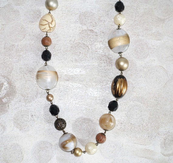 Gold Black Ivory Wedding Jewelry Statement Necklace Abstract