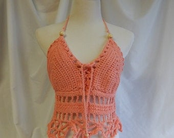 Crochet Halter Top - Sexy Lace Up Boho Festival Top With Beads - Peach