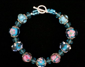 Handmade Bracelet Lampwork Flower Floral Turquoise Glass Beads Sterling Silver Clasp