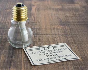 Rustic Groomsman Invitation Will You Be My Groomsman Best Man Message in a bottle light bulb Wedding invite Man of Honor Wedding Card Custom