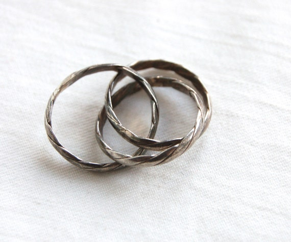 puzzle ring braided sterling silver size 6 5 vintage jewelry